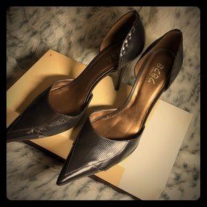 """BCBG Paris dark brown 4"""" leather heels, size 10"""